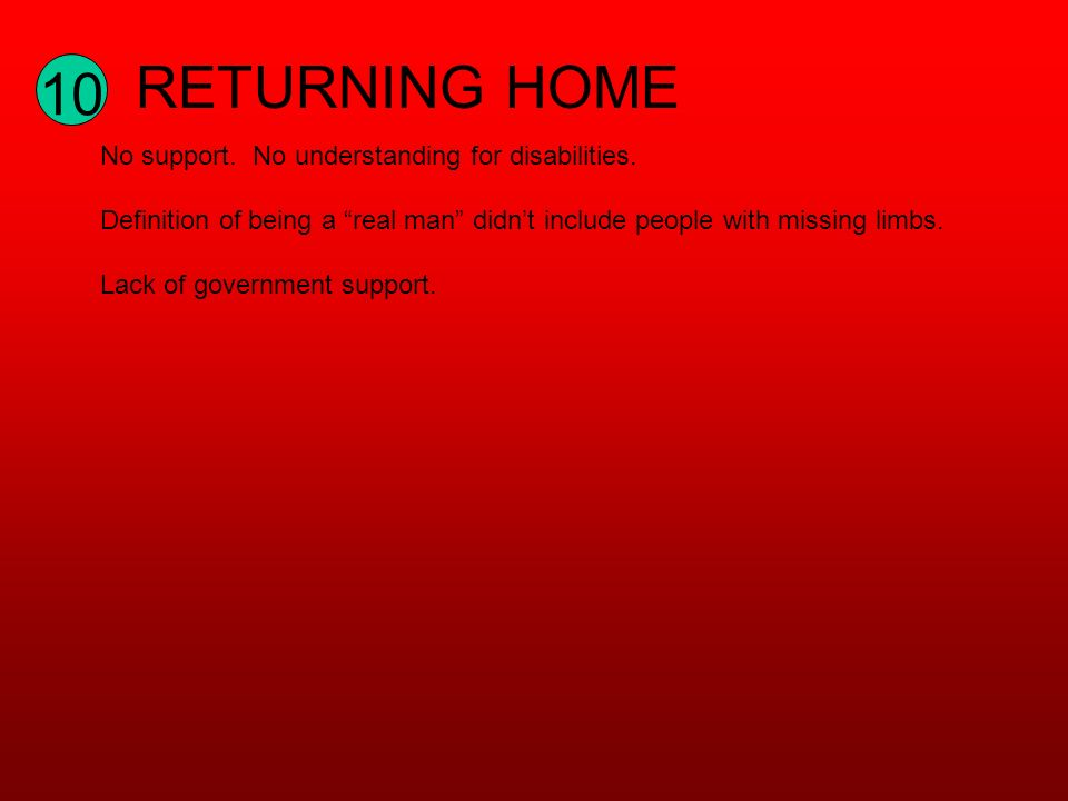 10 RETURNING HOME No support. No understanding for disabilities.