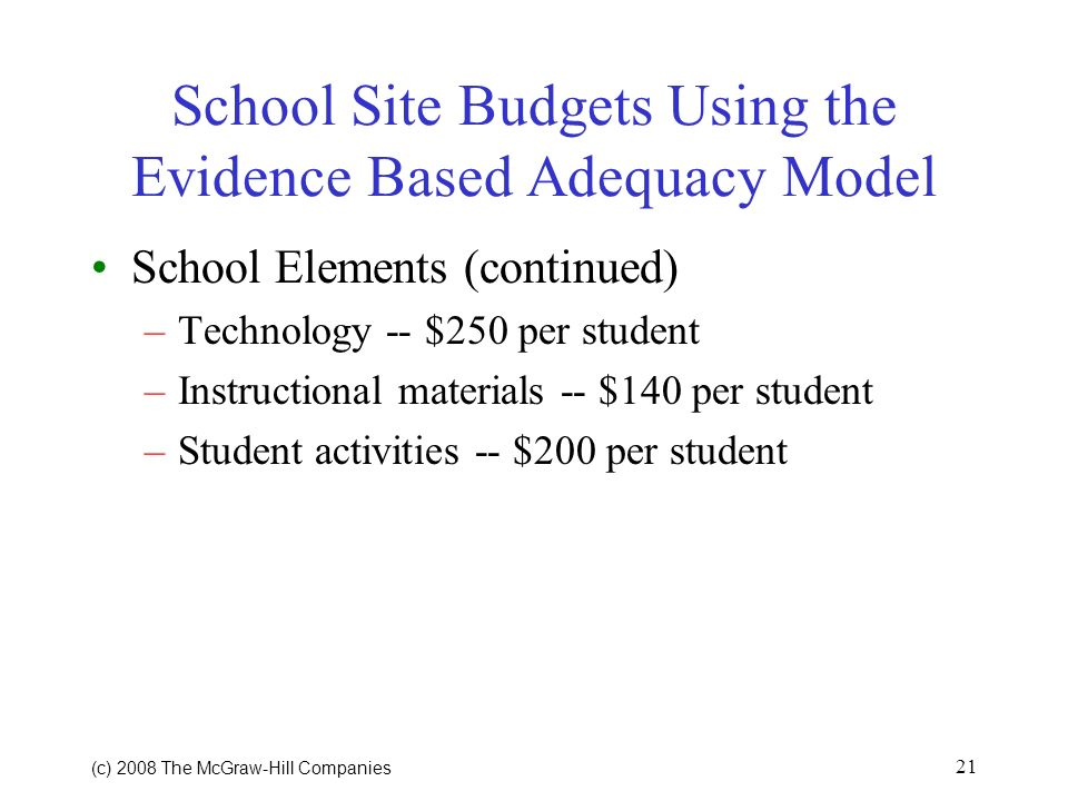 (c) 2008 The McGraw Hill Companies 20 School Site Budgets Using the Evidence Based Adequacy Model School Elements (continued) Professional development