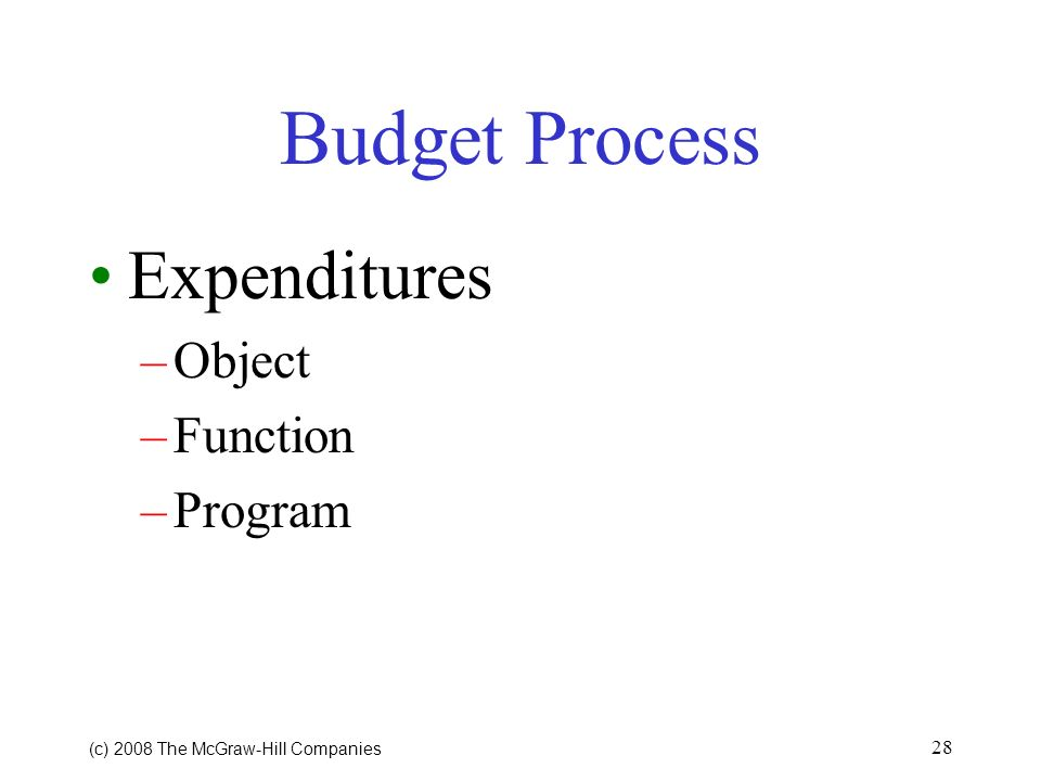 (c) 2008 The McGraw Hill Companies 27 Budget Process Estimating Expenditures –Identify Specific Programs and Services Around Which Budget is to be Con