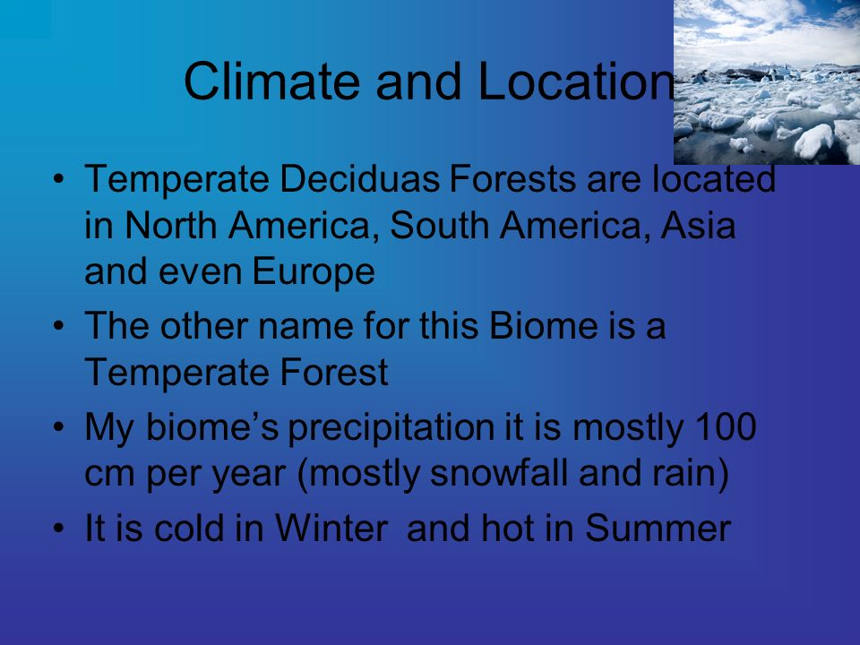 Climate and Location Temperate Deciduas Forests are located in North America, South America, Asia and even Europe The other name for this Biome is a Temperate Forest My biomes precipitation it is mostly 100 cm per year (mostly snowfall and rain) It is cold in Winter and hot in Summer