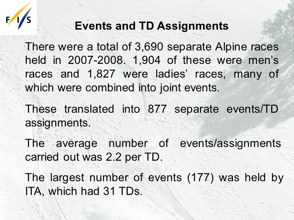 These translated into 877 separate events/TD assignments.
