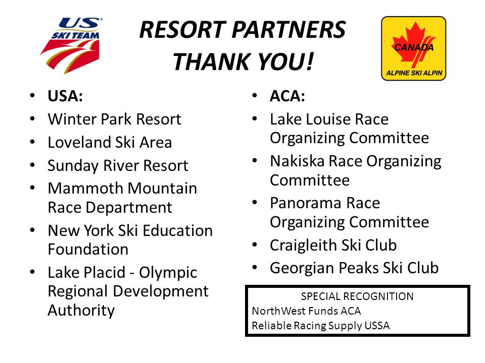 RESORT PARTNERS THANK YOU.