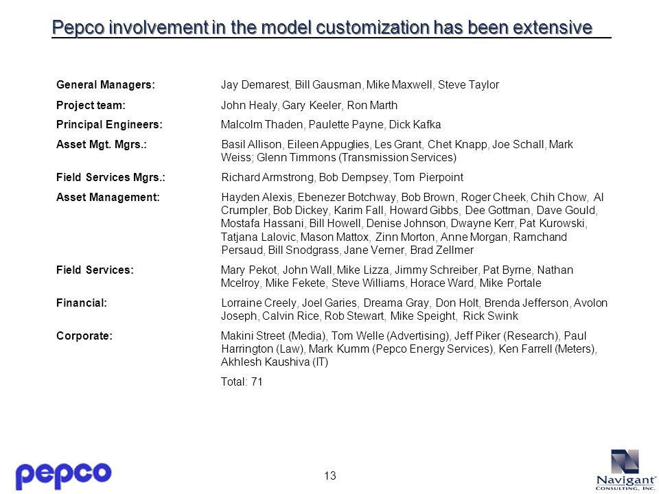 13 Pepco involvement in the model customization has been extensive General Managers: Jay Demarest, Bill Gausman, Mike Maxwell, Steve Taylor Project te