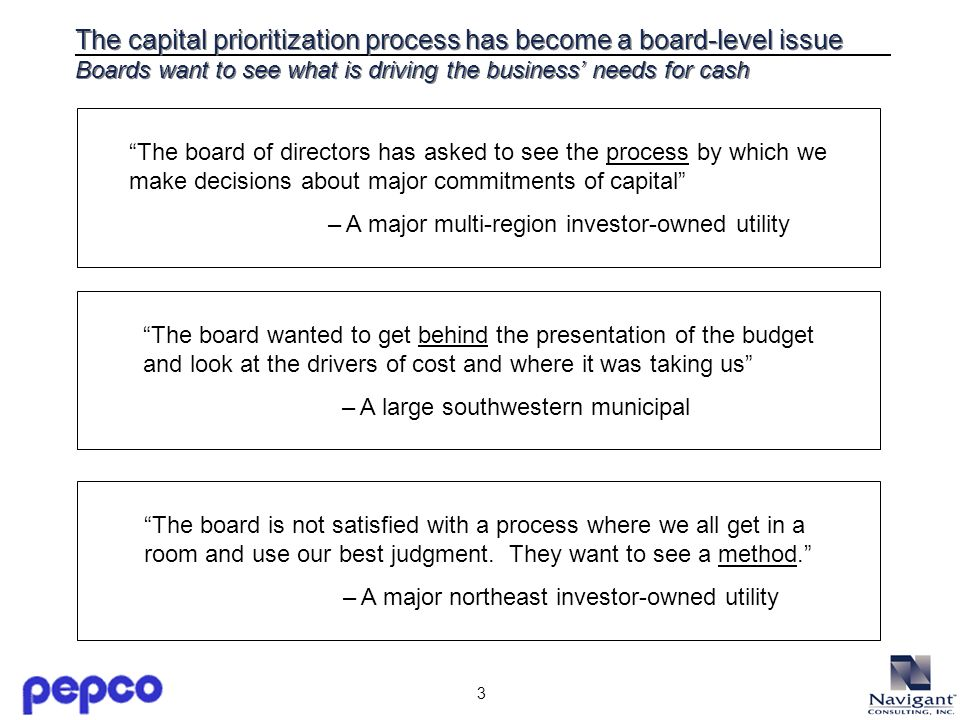 3 The capital prioritization process has become a board-level issue Boards want to see what is driving the business needs for cash The board of directors has asked to see the process by which we make decisions about major commitments of capital – A major multi-region investor-owned utility The board wanted to get behind the presentation of the budget and look at the drivers of cost and where it was taking us – A large southwestern municipal The board is not satisfied with a process where we all get in a room and use our best judgment.