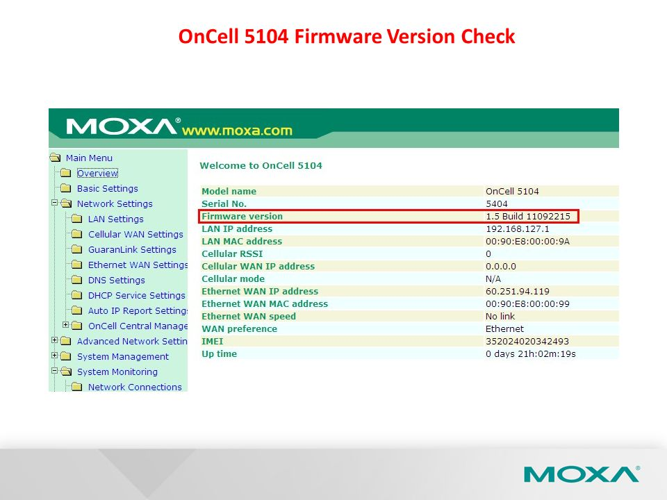 OnCell 5104 Firmware Version Check