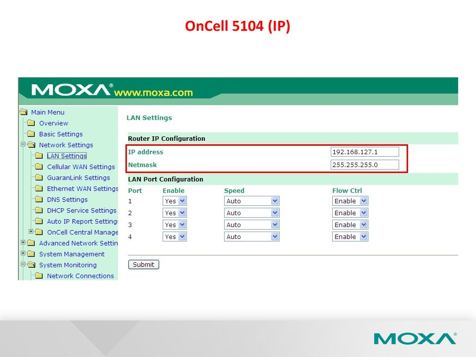 Confidential OnCell 5104 (Ethernet WAN Settings)
