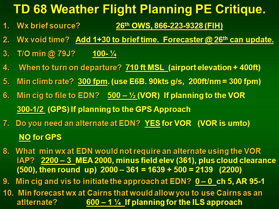 3 TD 68 Weather Flight Planning PE Critique. 1.Wx brief source? 26 th OWS, 866-223-9328 (FIH) 2.Wx void time? Add 1+30 to brief time. Forecaster @ 26