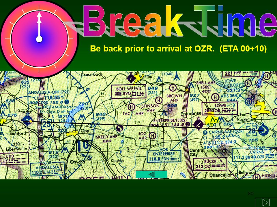 80 Be back prior to arrival at OZR. (ETA 00+10)