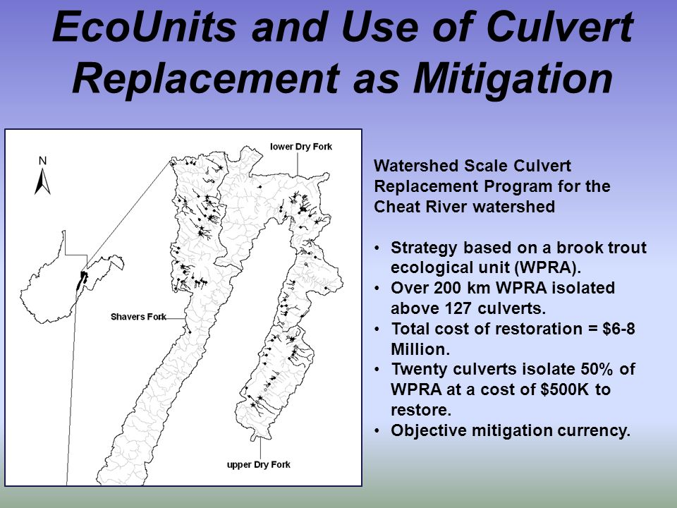 EcoUnits and Use of Culvert Replacement as Mitigation Watershed Scale Culvert Replacement Program for the Cheat River watershed Strategy based on a brook trout ecological unit (WPRA).