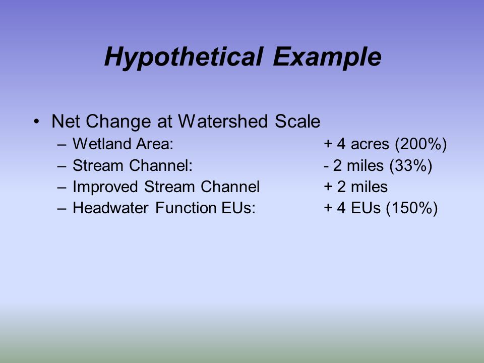 Hypothetical Example Net Change at Watershed Scale –Wetland Area:+ 4 acres (200%) –Stream Channel:- 2 miles (33%) –Improved Stream Channel+ 2 miles –Headwater Function EUs:+ 4 EUs (150%)