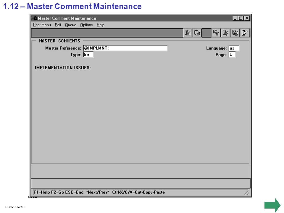 PCC-SU-210 1.12 – Master Comment Maintenance