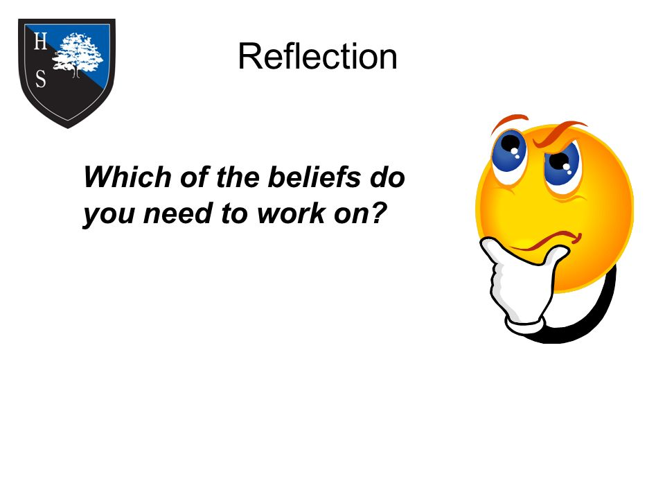 Reflection Which of the beliefs do you need to work on