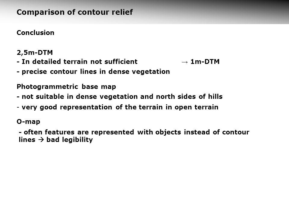 Comparison of contour relief Conclusion 2,5m-DTM - In detailed terrain not sufficient - precise contour lines in dense vegetation Photogrammetric base