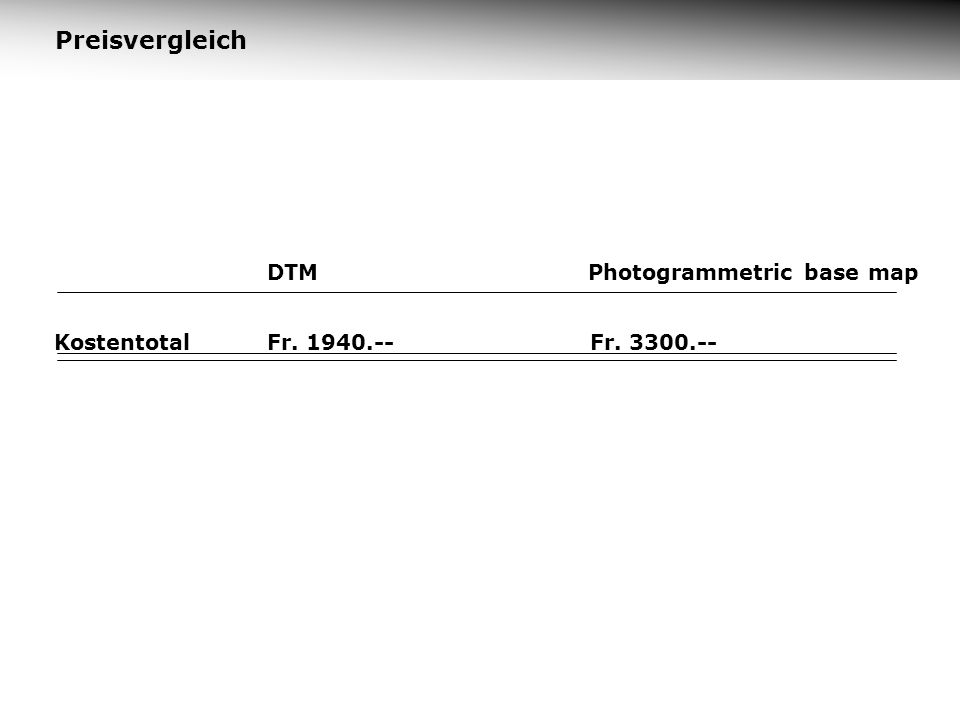 Preisvergleich KostentotalFr. 3300.-- DTMPhotogrammetric base map Fr. 1940.--