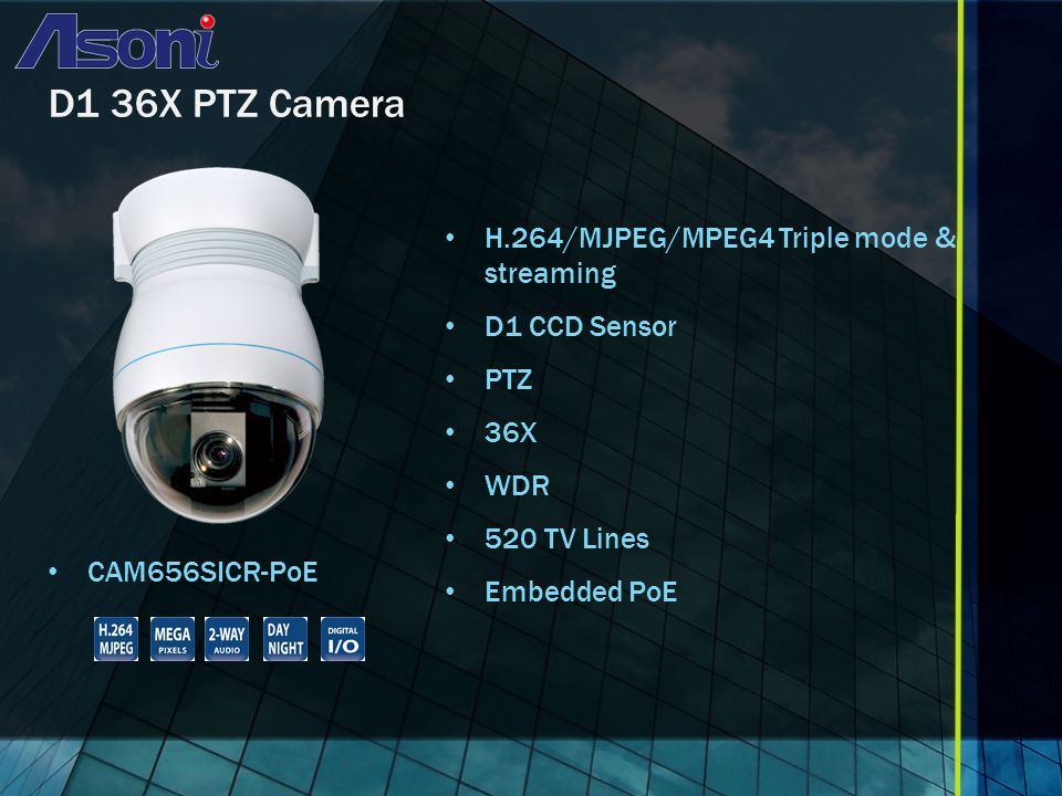 D1 36X PTZ Camera CAM656SICR-PoE H.264/MJPEG/MPEG4 Triple mode & streaming D1 CCD Sensor PTZ 36X WDR 520 TV Lines Embedded PoE