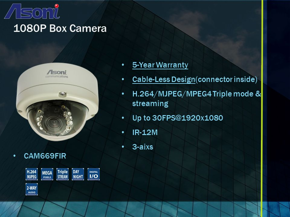 1080P Box Camera CAM669FIR 5-Year Warranty Cable-Less Design(connector inside) H.264/MJPEG/MPEG4 Triple mode & streaming Up to 30FPS@1920x1080 IR-12M 3-aixs