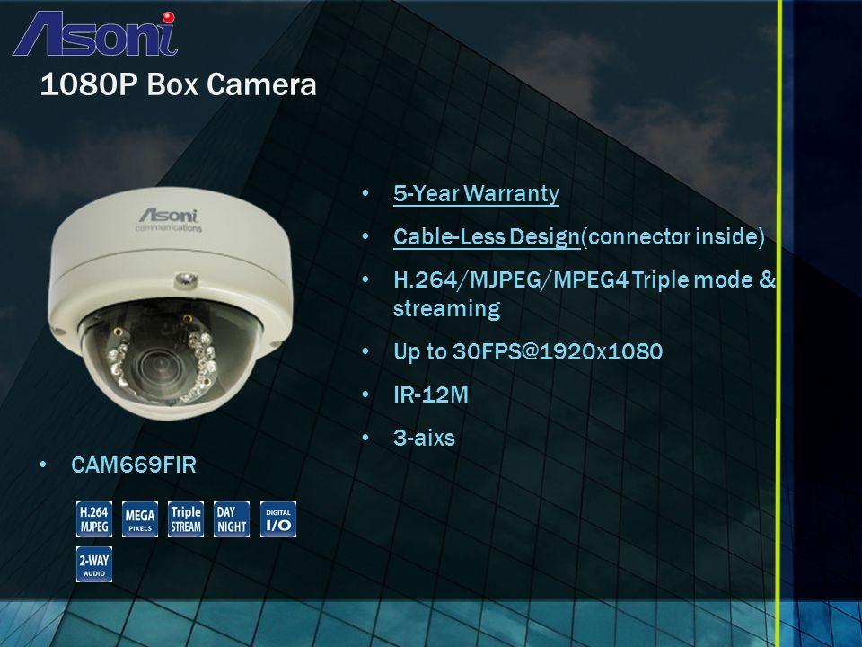 1080P / 720P / VGA Box Camera H.264/MJPEG/MPEG4 Triple mode & streaming 1080p / 720p / VGA resolution Embedded PoE 3GPP for monitoring via 3G phone 2-way audio CAM679F-PoE/CAM678H-PoE/CAM677G-PoE