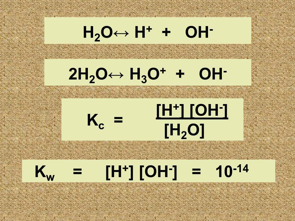 2H 2 O H 3 O + + OH - [H + ] [OH - ] [H 2 O] H 2 O H + + OH - K c = K w = [H + ] [OH - ] = 10 -14