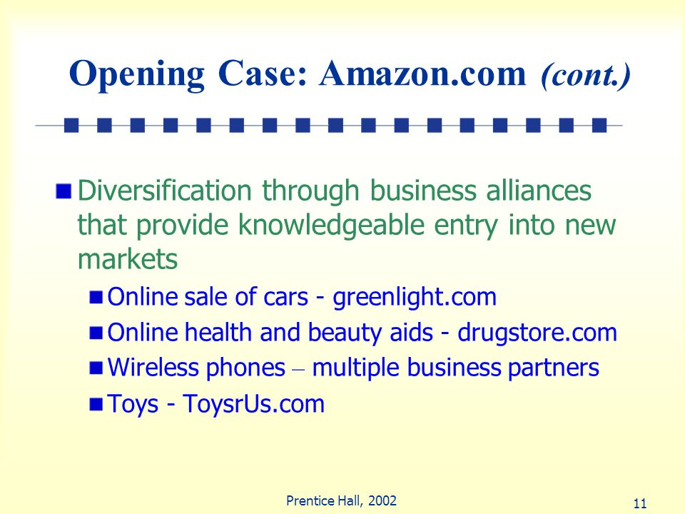 11 Prentice Hall, 2002 Opening Case: Amazon.com (cont.) Diversification through business alliances that provide knowledgeable entry into new markets O