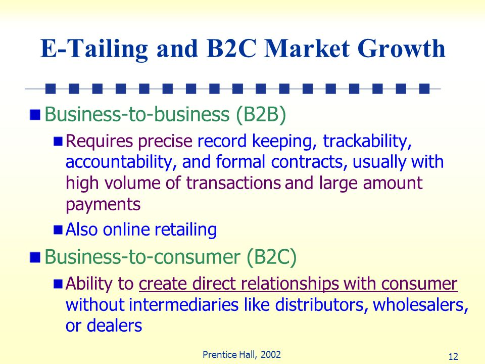 12 Prentice Hall, 2002 E-Tailing and B2C Market Growth Business-to-business (B2B) Requires precise record keeping, trackability, accountability, and f