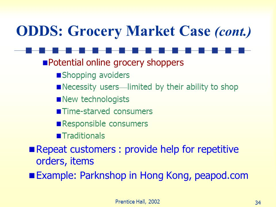 34 Prentice Hall, 2002 ODDS: Grocery Market Case (cont.) Potential online grocery shoppers Shopping avoiders Necessity users limited by their ability