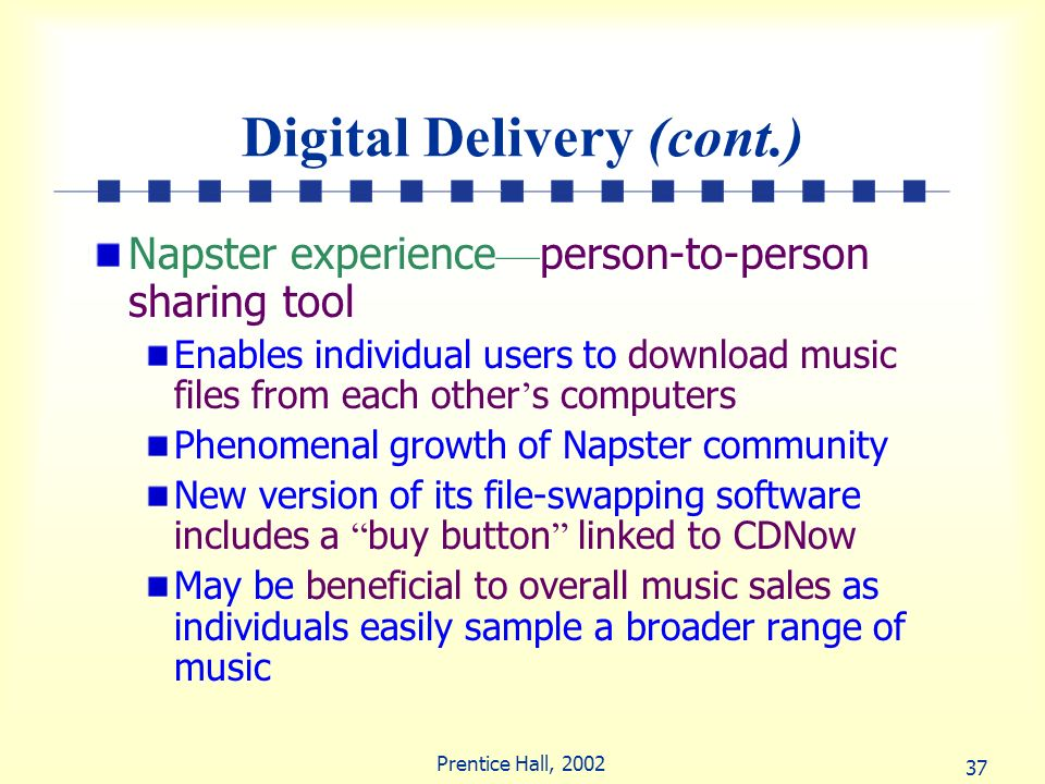 37 Prentice Hall, 2002 Digital Delivery (cont.) Napster experience person-to-person sharing tool Enables individual users to download music files from
