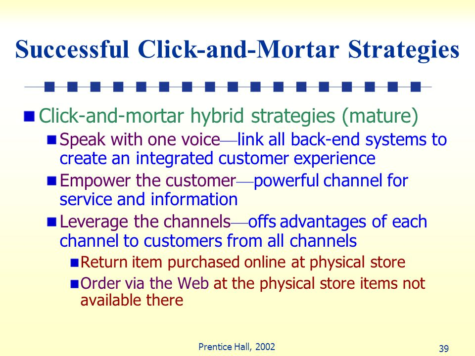 39 Prentice Hall, 2002 Successful Click-and-Mortar Strategies Click-and-mortar hybrid strategies (mature) Speak with one voice link all back-end syste