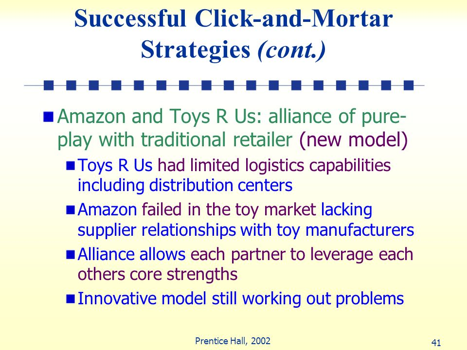 41 Prentice Hall, 2002 Successful Click-and-Mortar Strategies (cont.) Amazon and Toys R Us: alliance of pure- play with traditional retailer (new mode