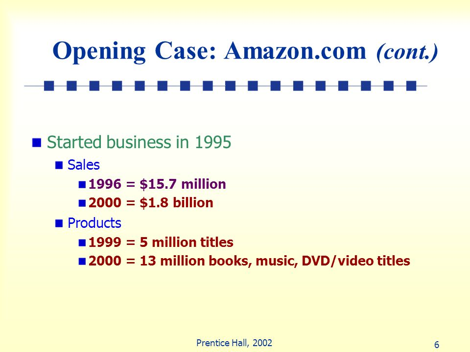 6 Prentice Hall, 2002 Opening Case: Amazon.com (cont.) Started business in 1995 Sales 1996 = $15.7 million 2000 = $1.8 billion Products 1999 = 5 milli