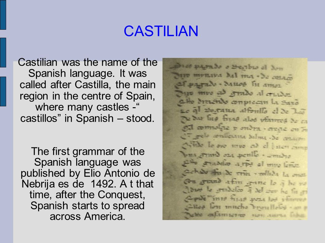 CASTILIAN Castilian was the name of the Spanish language. It was called after Castilla, the main region in the centre of Spain, where many castles - c