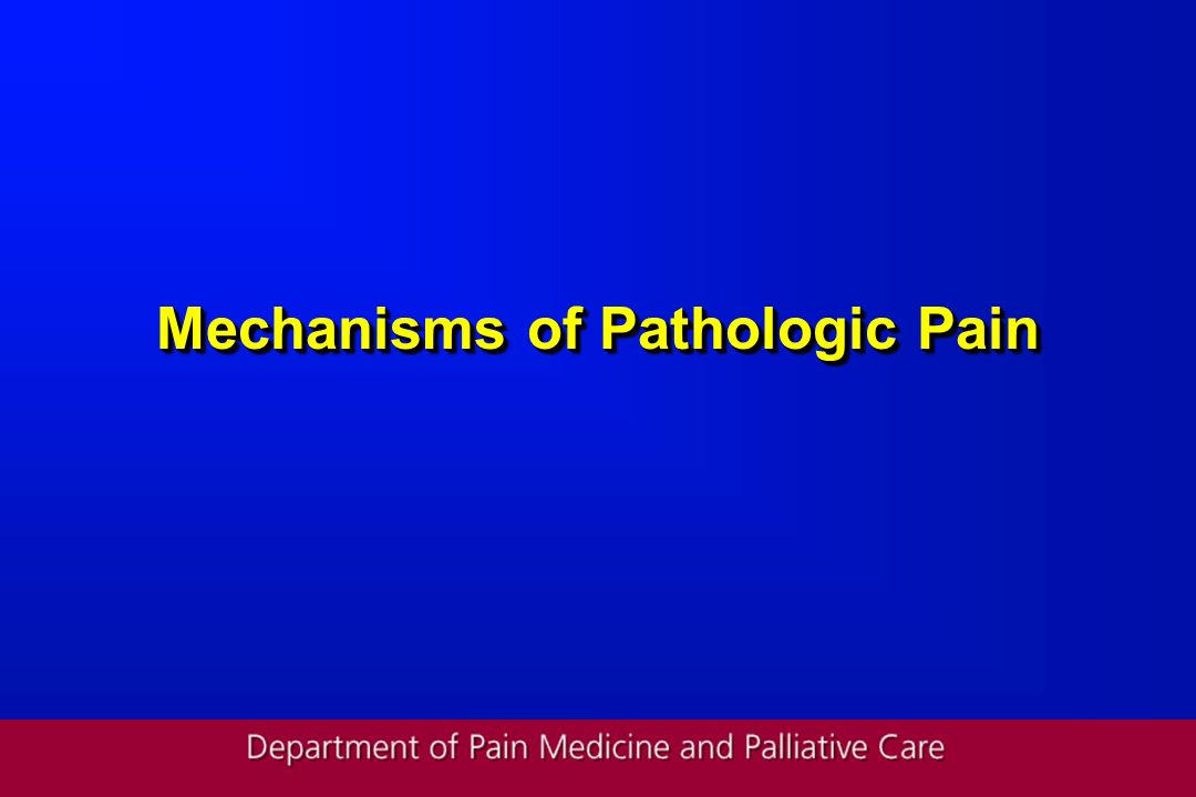 Mechanisms of Pathologic Pain