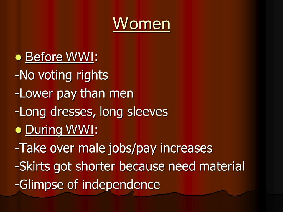Women Before WWI : Before WWI : -No voting rights -Lower pay than men -Long dresses, long sleeves During WWI : During WWI : -Take over male jobs/pay increases -Skirts got shorter because need material -Glimpse of independence