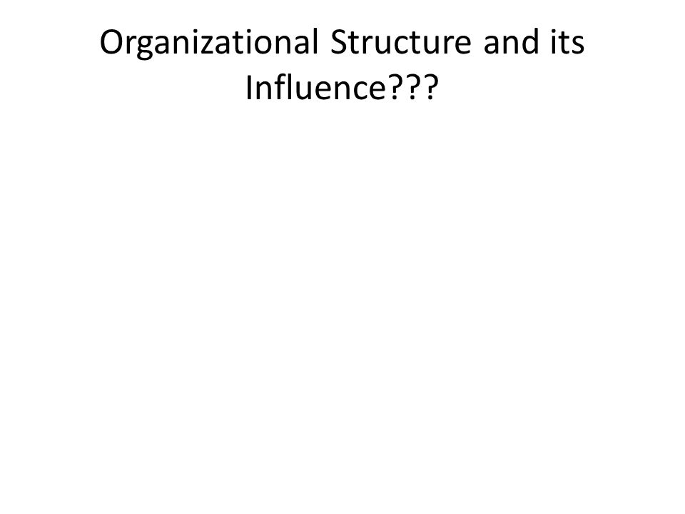 Organizational Structure and its Influence???
