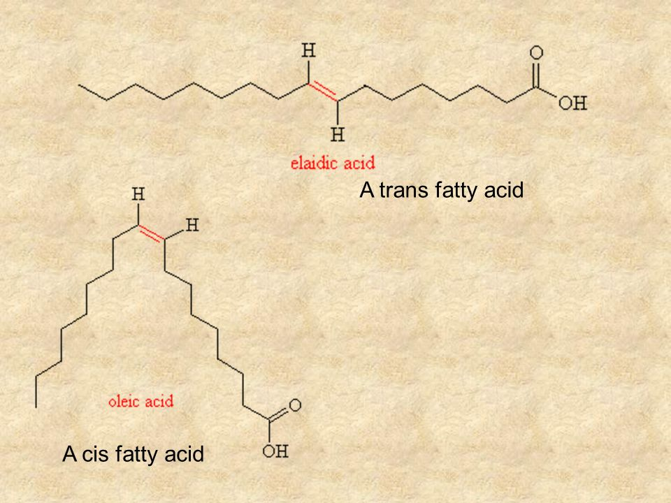 A cis fatty acid A trans fatty acid