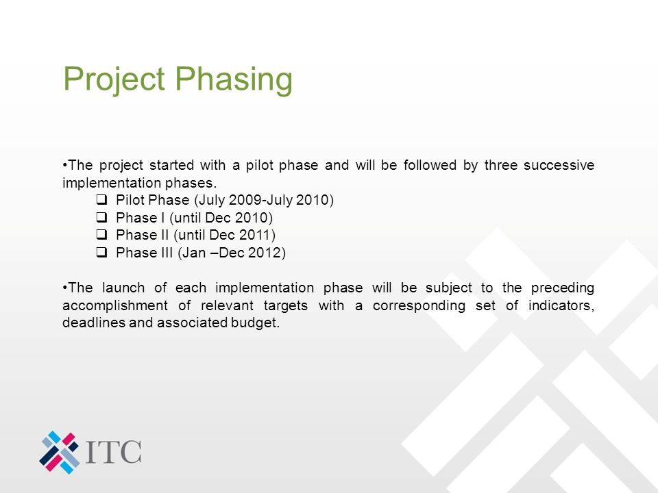 Project Phasing The project started with a pilot phase and will be followed by three successive implementation phases.