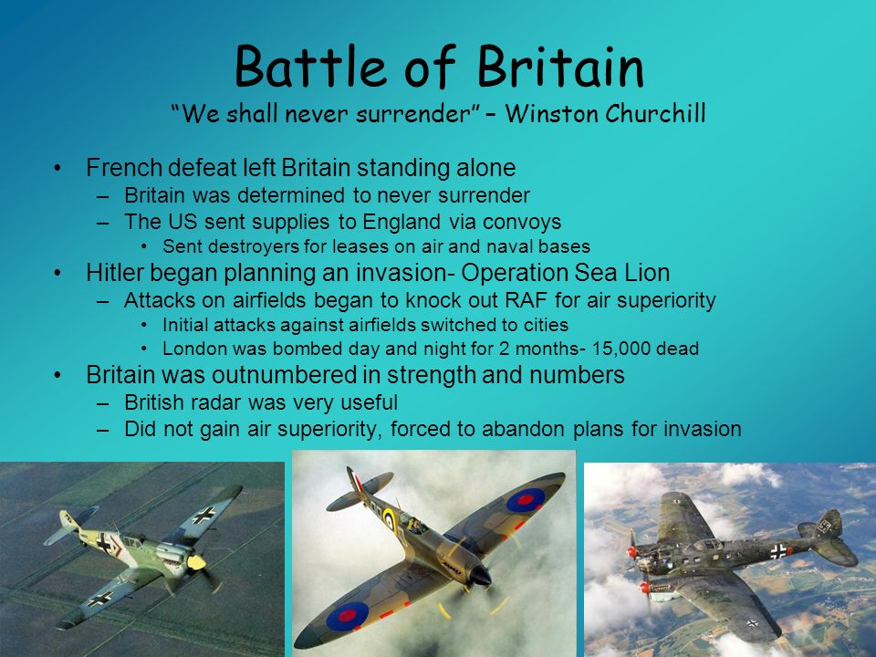 Battle of Britain We shall never surrender – Winston Churchill French defeat left Britain standing alone –Britain was determined to never surrender –T