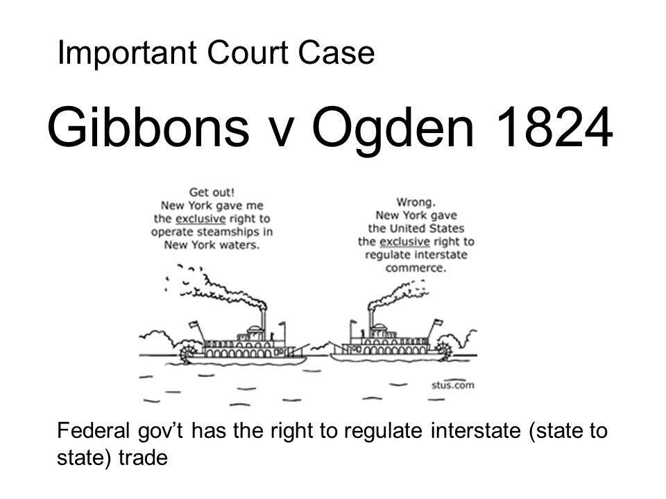 Important Court Case Federal govt has the right to regulate interstate (state to state) trade Gibbons v Ogden 1824
