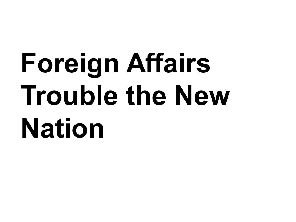 Foreign Affairs Trouble the New Nation