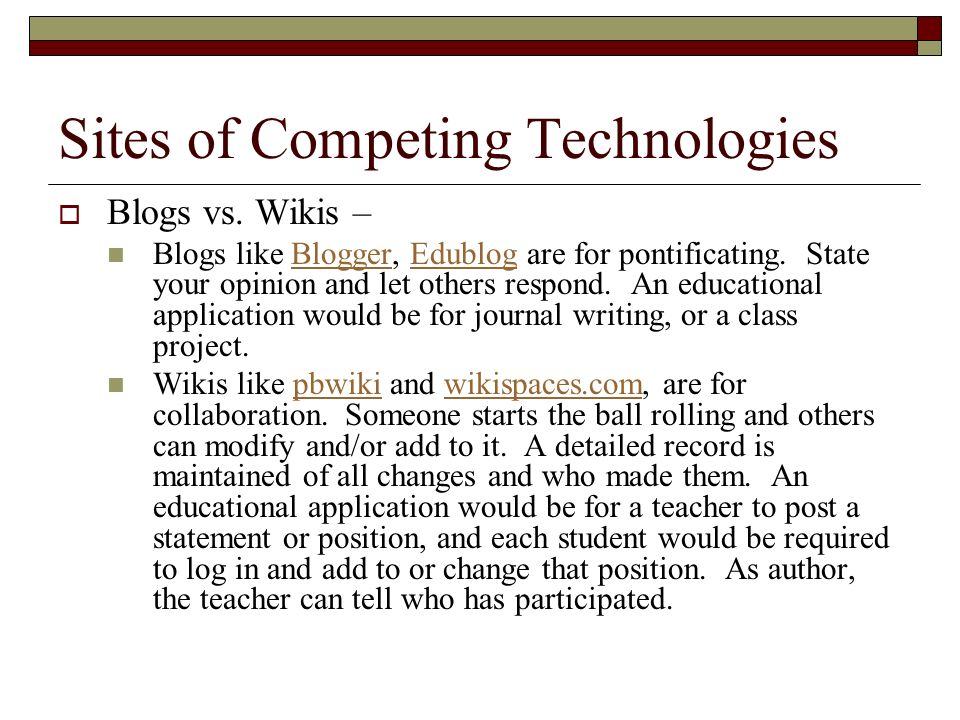 Sites of Competing Technologies Blogs vs. Wikis – Blogs like Blogger, Edublog are for pontificating. State your opinion and let others respond. An edu