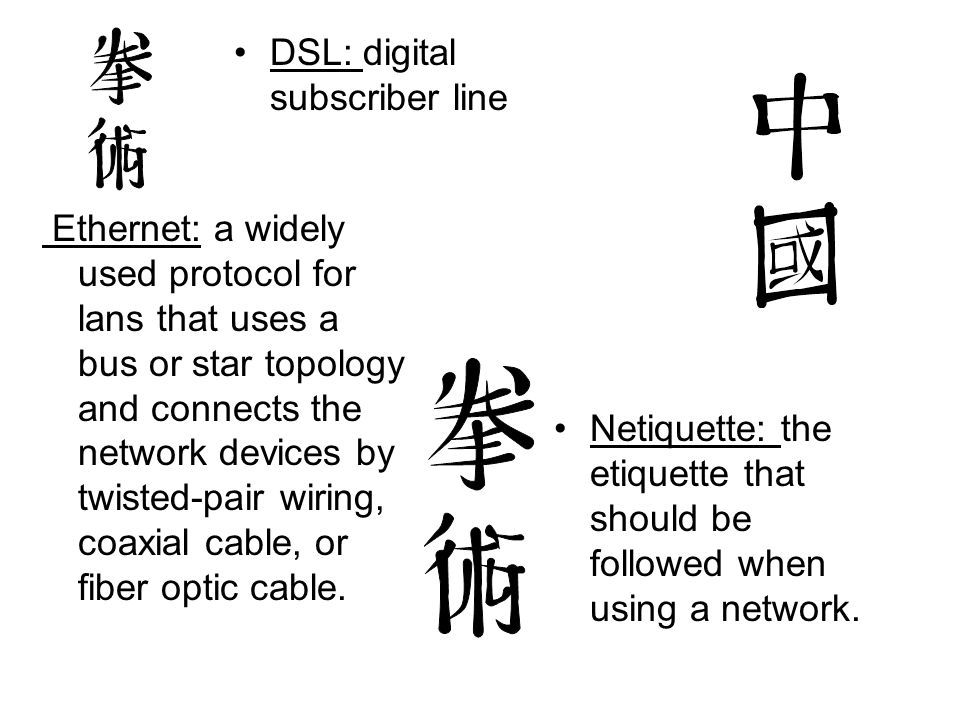 DSL: digital subscriber line Netiquette: the etiquette that should be followed when using a network. Ethernet: a widely used protocol for lans that us