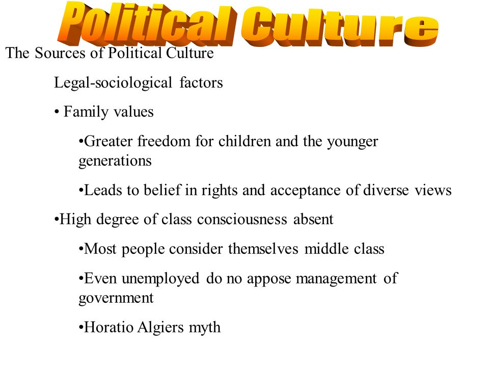 The Sources of Political Culture Legal-sociological factors Family values Greater freedom for children and the younger generations Leads to belief in