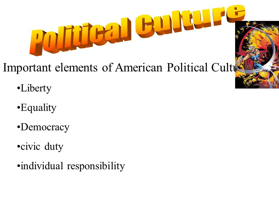 Important elements of American Political Culture: Liberty Equality Democracy civic duty individual responsibility