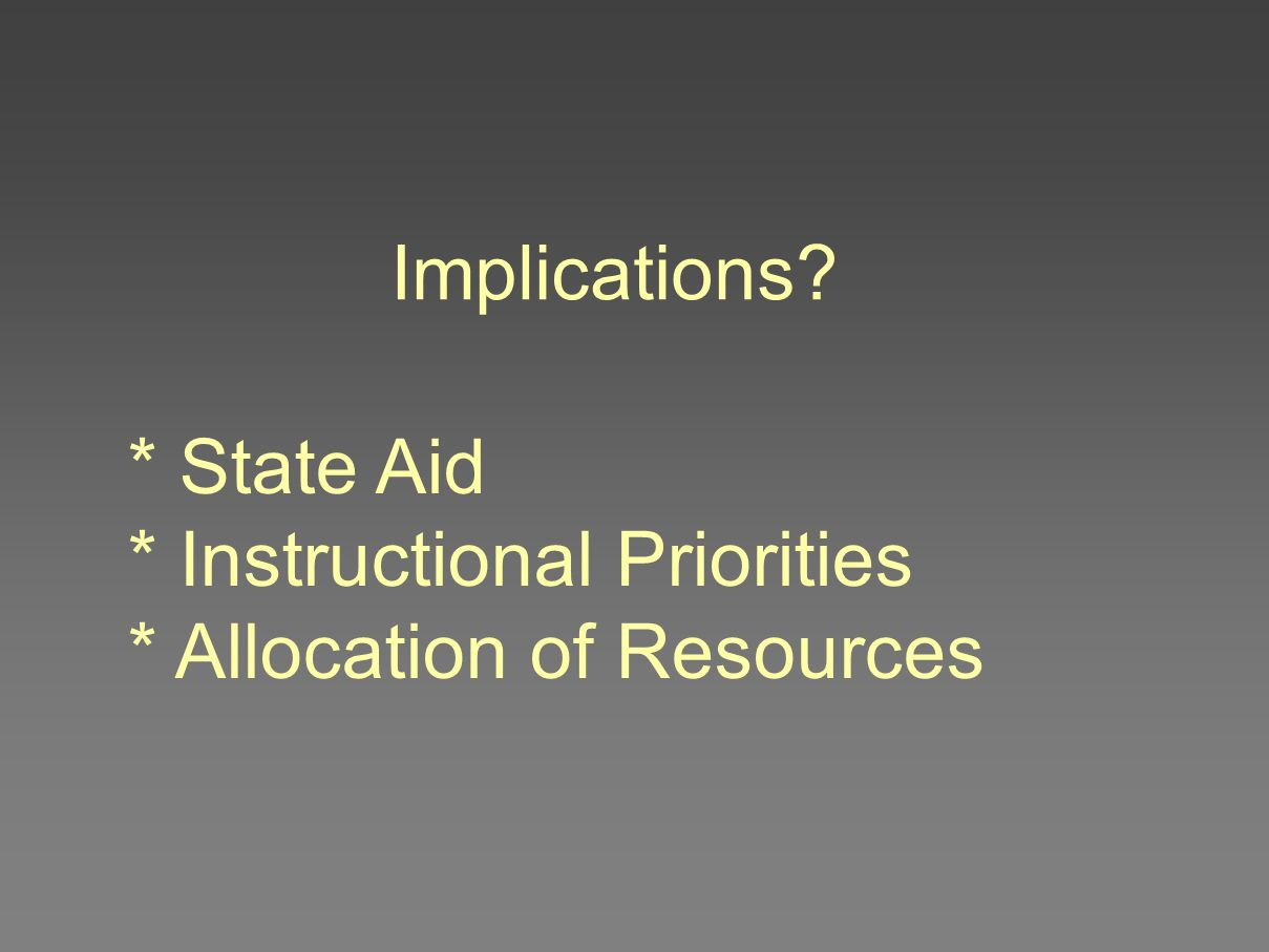 Implications? * State Aid * Instructional Priorities * Allocation of Resources