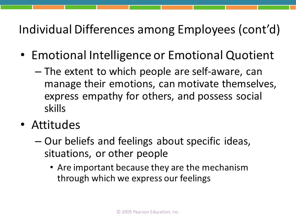 Individual Differences among Employees (contd) Emotional Intelligence or Emotional Quotient – The extent to which people are self-aware, can manage th