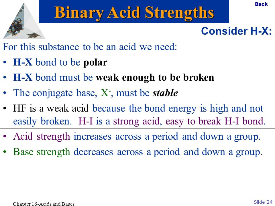 Slide 24 Back Chapter 16-Acids and Bases Consider H-X: For this substance to be an acid we need: H-X bond to be polar H-X bond must be weak enough to