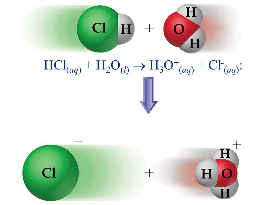 HCl (aq) + H 2 O (l) H 3 O + (aq) + Cl - (aq) :