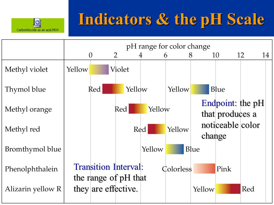 Indicators & the pH Scale Transition Interval: the range of pH that they are effective. Endpoint: the pH that produces a noticeable color change