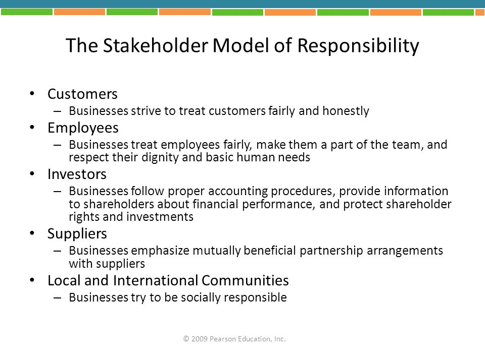 The Stakeholder Model of Responsibility Customers – Businesses strive to treat customers fairly and honestly Employees – Businesses treat employees fa