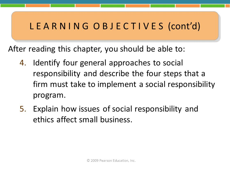 After reading this chapter, you should be able to: 4.Identify four general approaches to social responsibility and describe the four steps that a firm