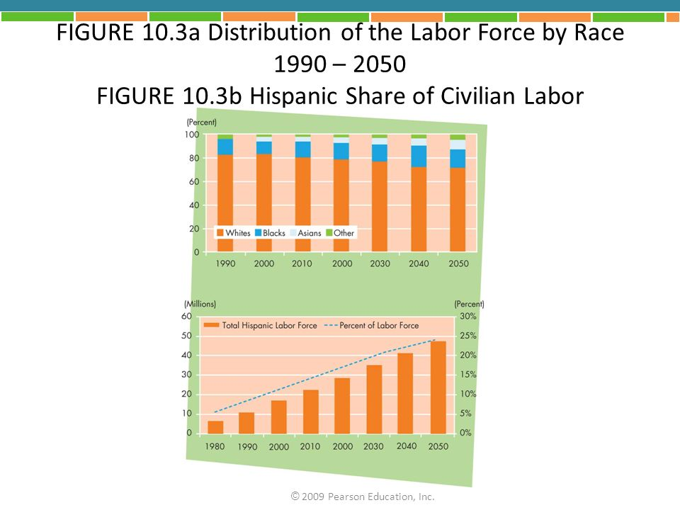 FIGURE 10.3a Distribution of the Labor Force by Race 1990 – 2050 FIGURE 10.3b Hispanic Share of Civilian Labor © 2009 Pearson Education, Inc.